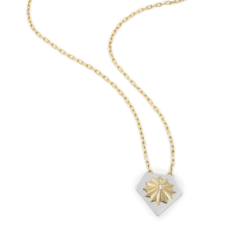 Yellow & White Gold Ray Shield Star Necklace, Jewelry - Katherine & Josephine