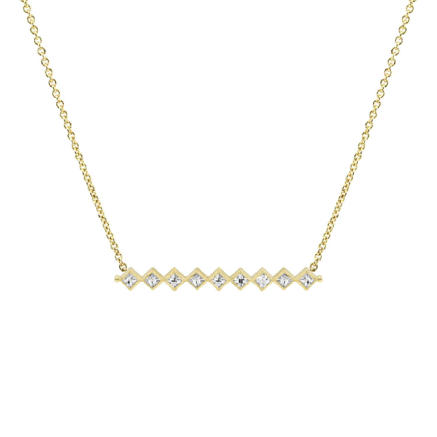 Gold French Cut Bar Necklace,  - Katherine & Josephine