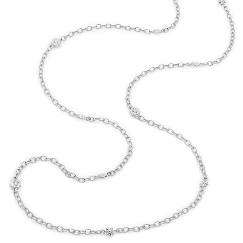 White Gold Octagonal Starred & Star Link Chain Necklace,  - Katherine & Josephine