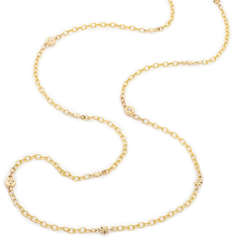 Yellow Gold Octagonal Starred & Star Link Chain Necklace,  - Katherine & Josephine