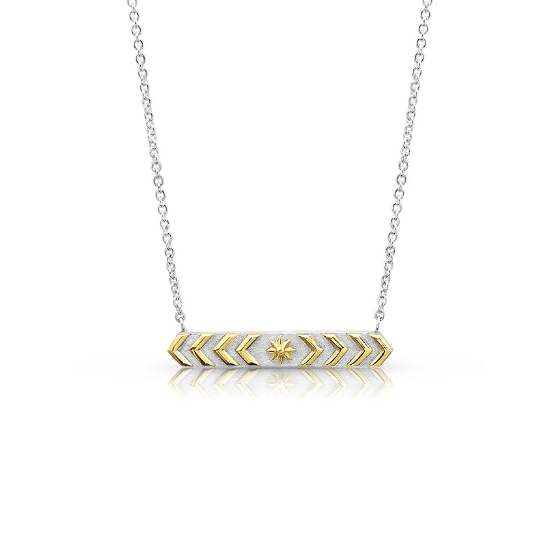 Silver & Gold Chevron Bar Necklace,  - Katherine & Josephine