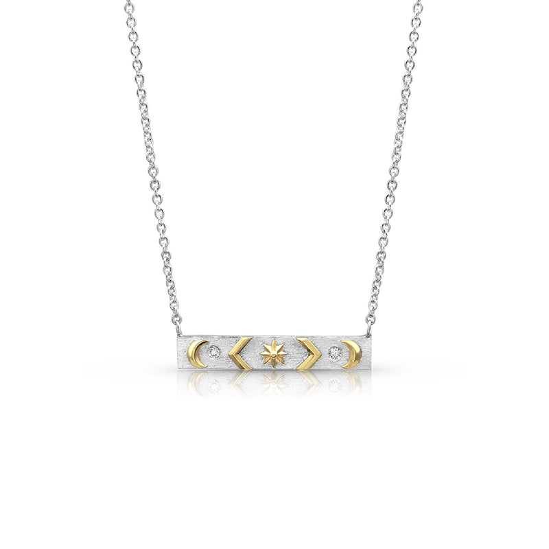 Silver & Gold Star, Chevron & Moon Necklace,  - Katherine & Josephine