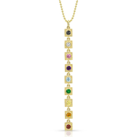 Gold Linear Rainbow Link Necklace,  - Katherine & Josephine