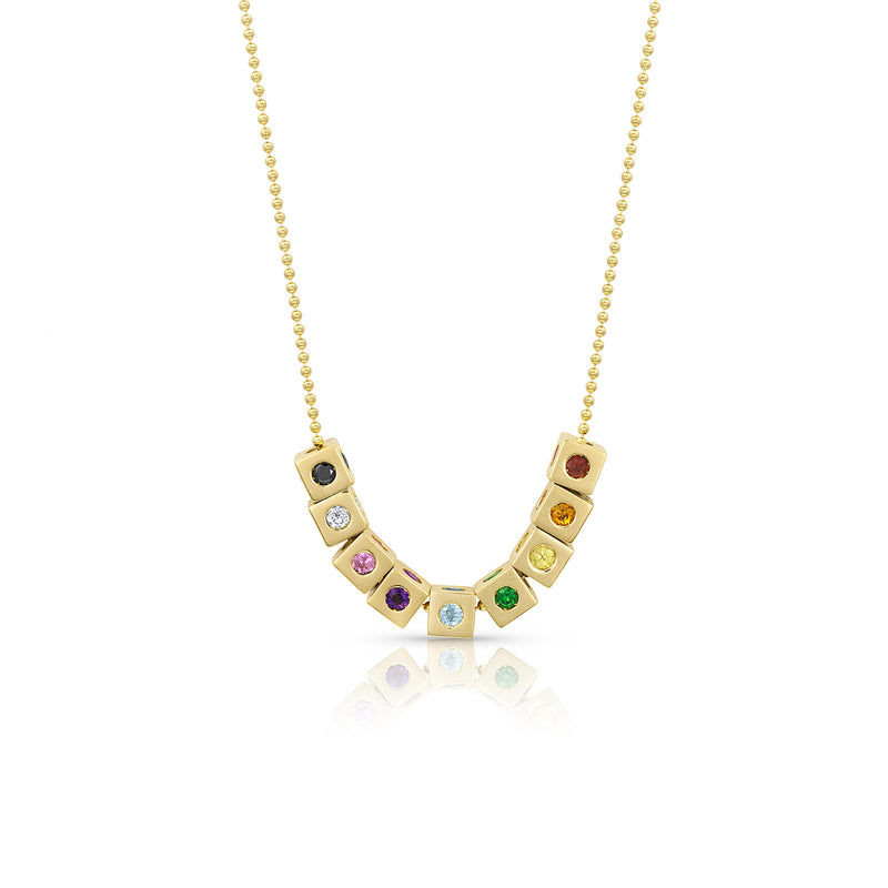 Gold Floating Rainbow Necklace