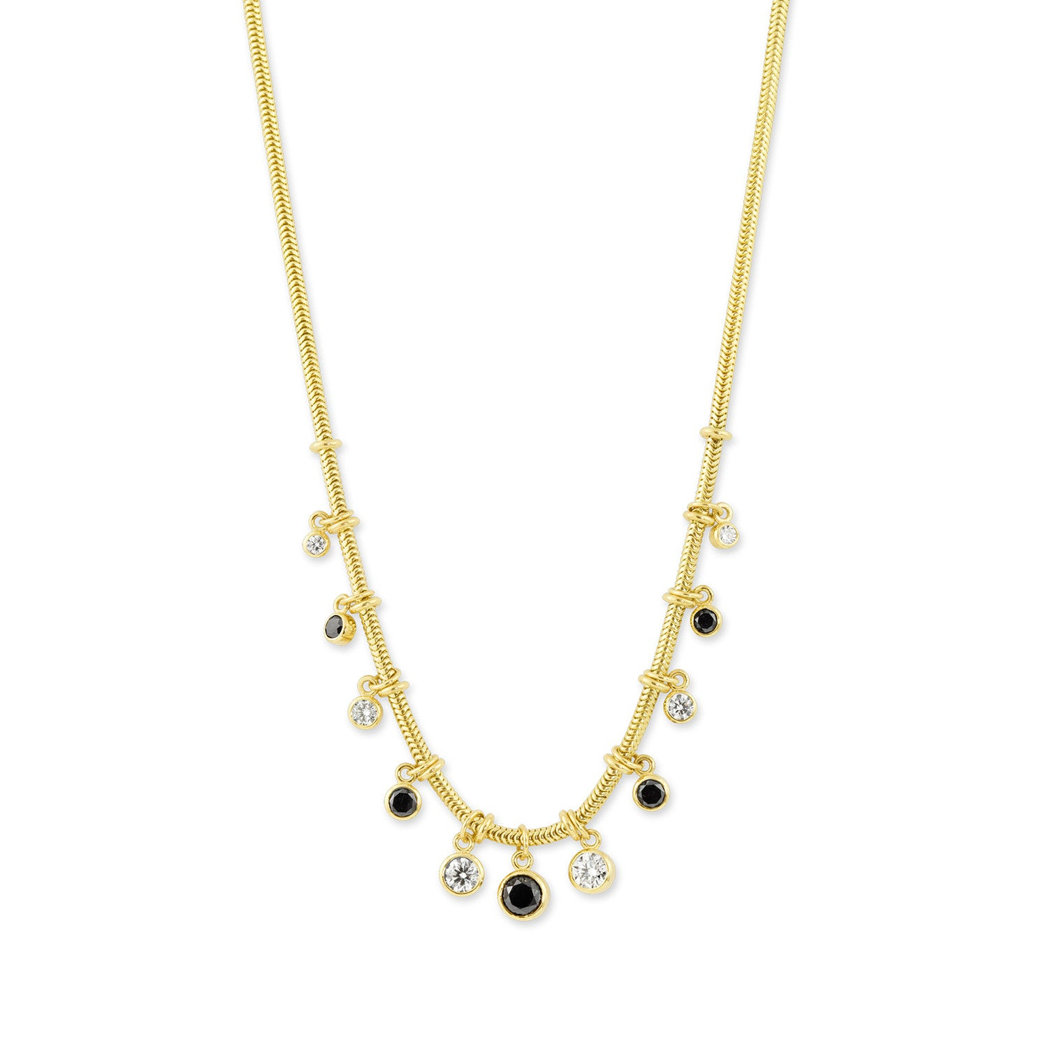 Gold Snake Chain Necklace with Black & White Diamonds,  - Katherine & Josephine