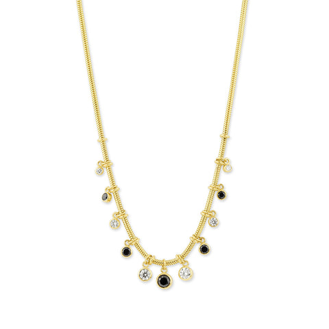 Yellow Gold Snake Chain Necklace with Black & White Diamonds,  - Katherine & Josephine