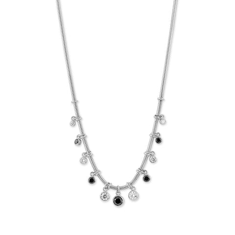 White Gold Snake Chain Necklace with Black & White Diamonds,  - Katherine & Josephine