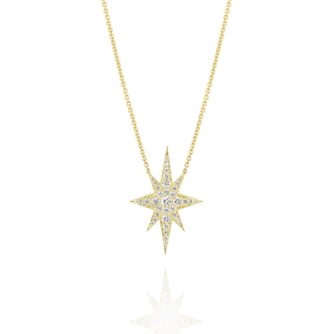 Yellow Gold Elongated Star Necklace, Jewelry - Katherine & Josephine