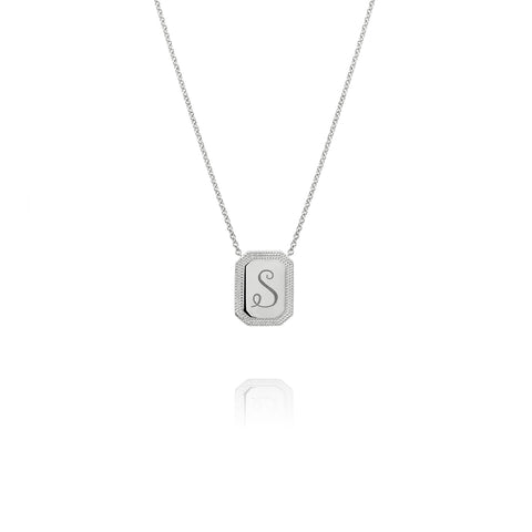White Gold Initial Necklace, Jewelry - Katherine & Josephine