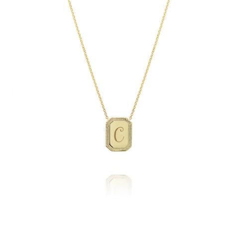 Yellow Gold Initial Necklace, Jewelry - Katherine & Josephine