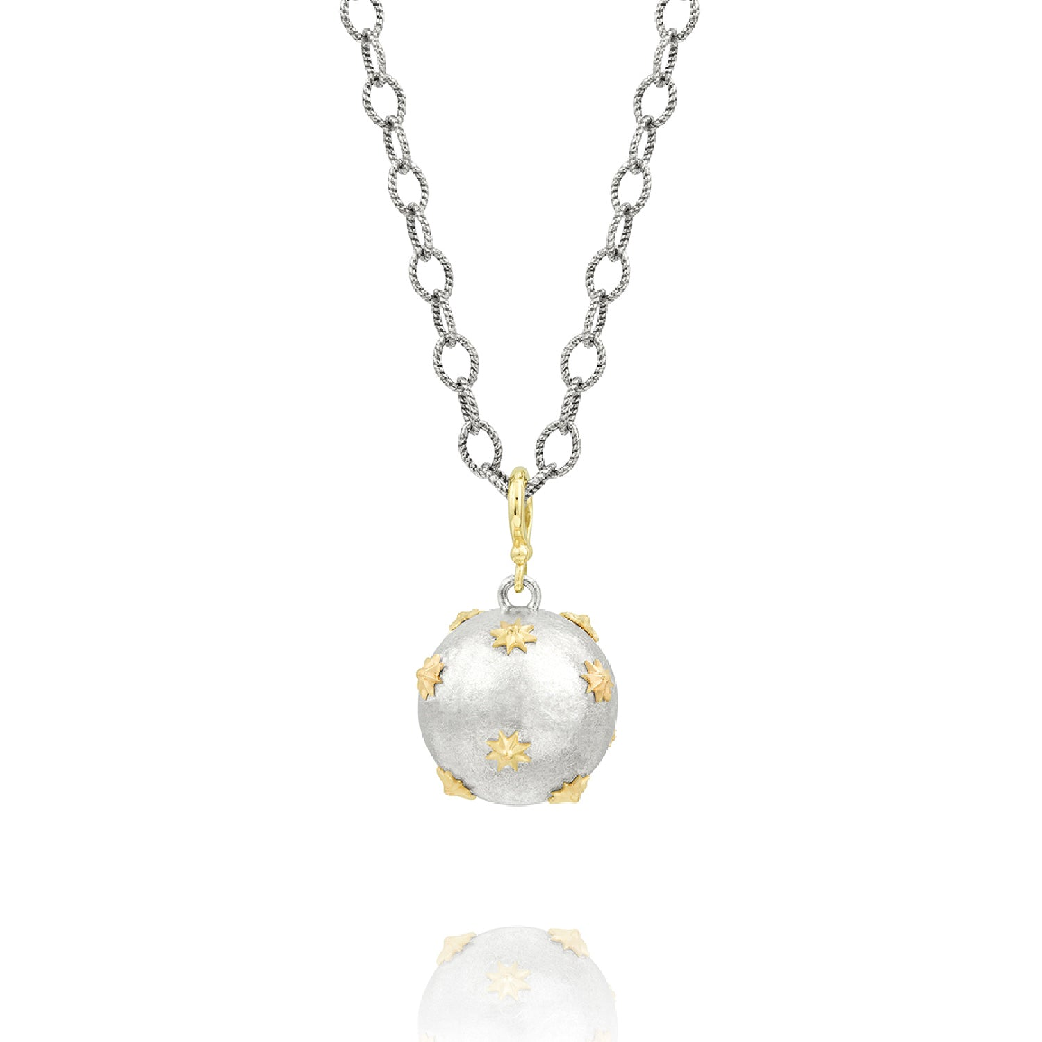 Sterling Silver & Yellow Gold Raised Star Ball Necklace, Jewelry - Katherine & Josephine