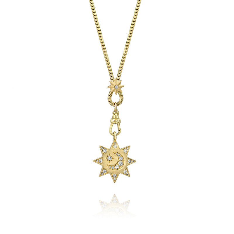 Yellow Gold Sun, Moon & Stars Chain Necklace, Jewelry - Katherine & Josephine