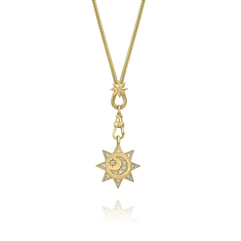 Yellow Gold Sun, Moon & Stars Chain Necklace