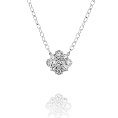 White Gold Starburst Necklace