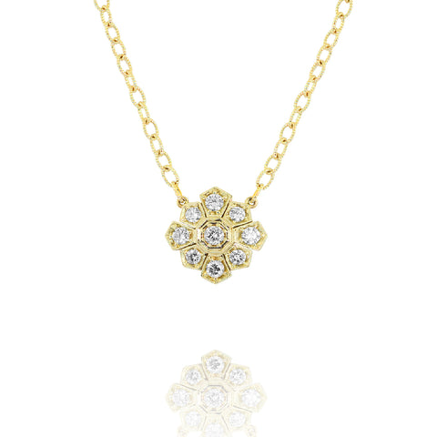 Yellow Gold Starburst Necklace