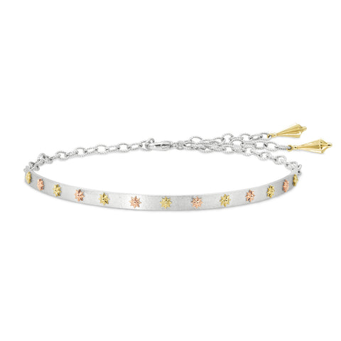 Sterling Silver & Gold Raised Star Choker, Jewelry - Katherine & Josephine