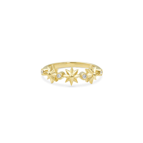 Yellow Gold Star Stacking Band, Jewelry - Katherine & Josephine
