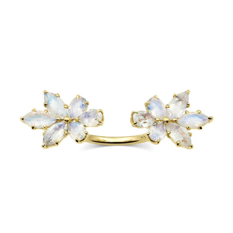 Gold Bouquet Double Finger Ring, Jewelry - Katherine & Josephine