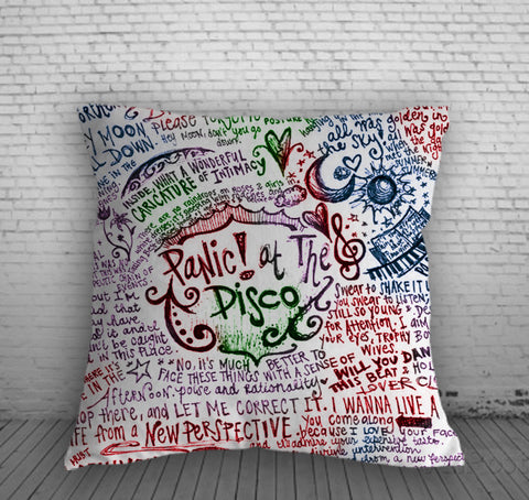 Panic At The Disco Colorfull Lyric Pillow, Pillow Case, Pillow Cover, 16 x 16 Inch One Side, 16 x 16 Inch Two Side, 18 x 18 Inch One Side, 18 x 18 Inch Two Side, 20 x 20 Inch One Side, 20 x 20 Inch Two Side