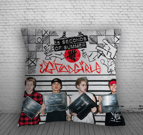 5 Second Of Summer Good Girls Pillow, Pillow Case, Pillow Cover, 16 x 16 Inch One Side, 16 x 16 Inch Two Side, 18 x 18 Inch One Side, 18 x 18 Inch Two Side, 20 x 20 Inch One Side, 20 x 20 Inch Two Side
