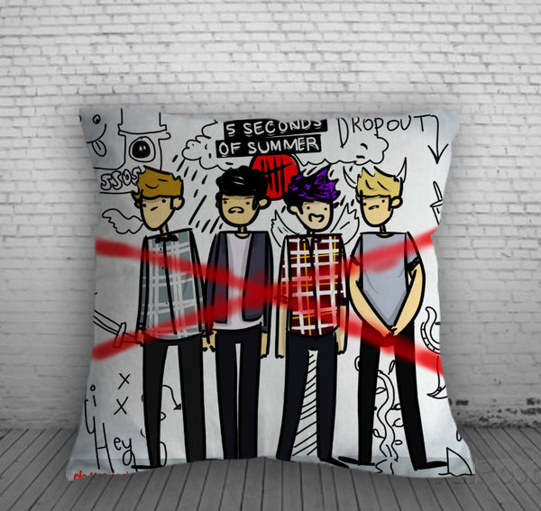 5 Second Of Summer DropOut Pillow, Pillow Case, Pillow Cover, 16 x 16 Inch One Side, 16 x 16 Inch Two Side, 18 x 18 Inch One Side, 18 x 18 Inch Two Side, 20 x 20 Inch One Side, 20 x 20 Inch Two Side