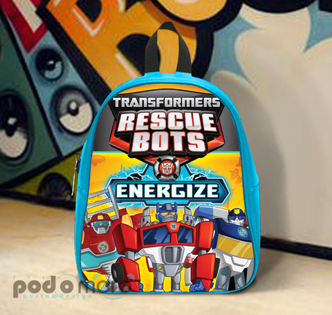 Transformers Rescue Bots Energize, School Bag Kids, Large Size, Medium Size, Small Size, Red, White, Deep Sky Blue, Black, Light Salmon Color