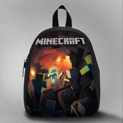 Mine Herobrine, School Bag Kids, Large Size, Medium Size, Small Size, Red, White, Deep Sky Blue, Black, Light Salmon Color