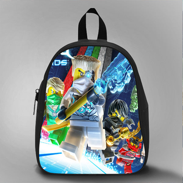 Ninjago Droid inpired, School Bag Kids, Large Size, Medium Size, Small Size, Red, White, Deep Sky Blue, Black, Light Salmon Color