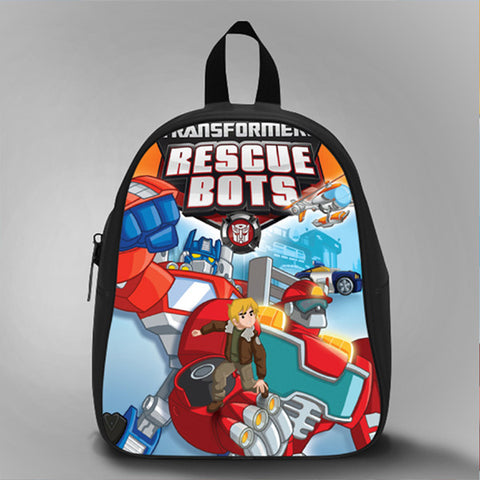Optimus Prime Rescue Bots, School Bag Kids, Large Size, Medium Size, Small Size, Red, White, Deep Sky Blue, Black, Light Salmon Color