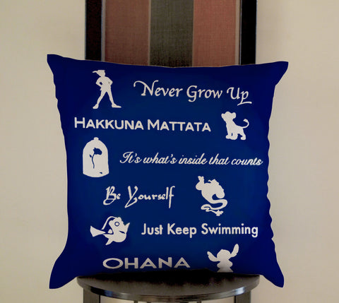 disney peterpan, lion king, beauty and the beast, finding nemo, lilo and stich Pillow, Pillow Case, Pillow Cover, 16 x 16 Inch One Side, 16 x 16 Inch Two Side, 18 x 18 Inch One Side, 18 x 18 Inch Two Side, 20 x 20 Inch One Side, 20 x 20 Inch Two Side