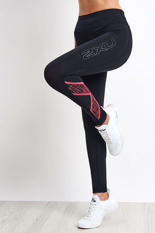 2XU Bonded Mid-Rise Compression Tight - Black/Pink image 2 - The Sports Edit