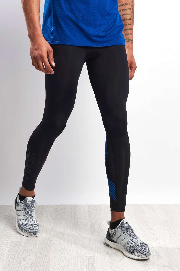 2XU Accelerate Compression Tights Blk/Blue image 2 - The Sports Edit