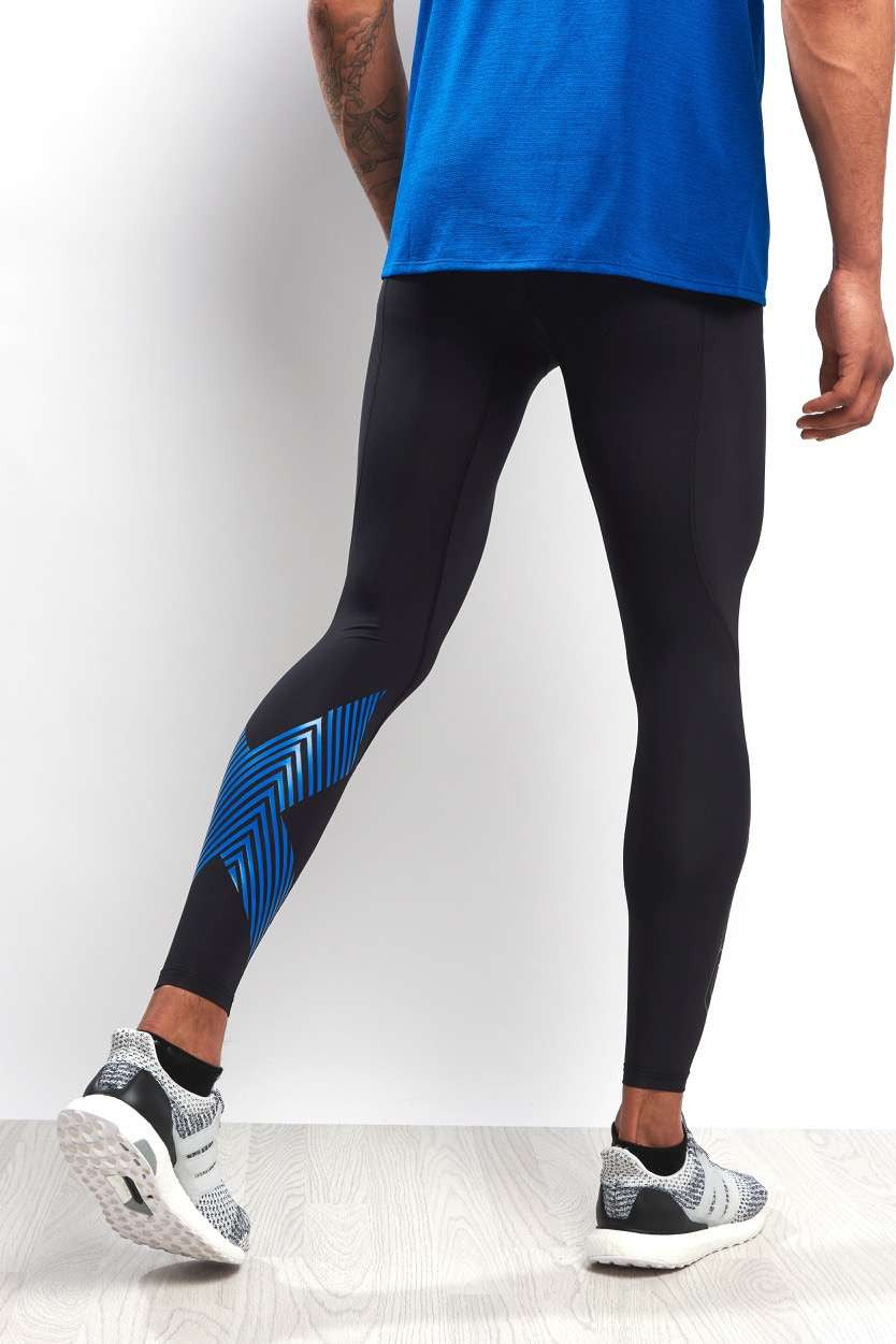 2XU Accelerate Compression Tights Blk/Blue image 1 - The Sports Edit