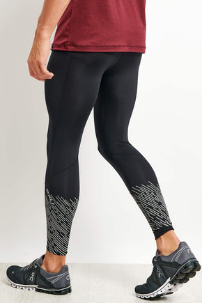2fdf57be6afc6 2XU Reflect Run Tights - Black/Silver Reflective image 1 - The Sports Edit