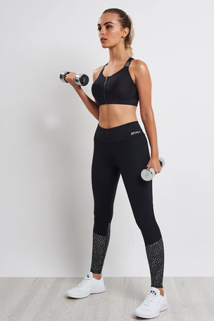 2XU Reflect Run Mid-Rise Compression Tight - Black/Silver image 4 - The Sports Edit