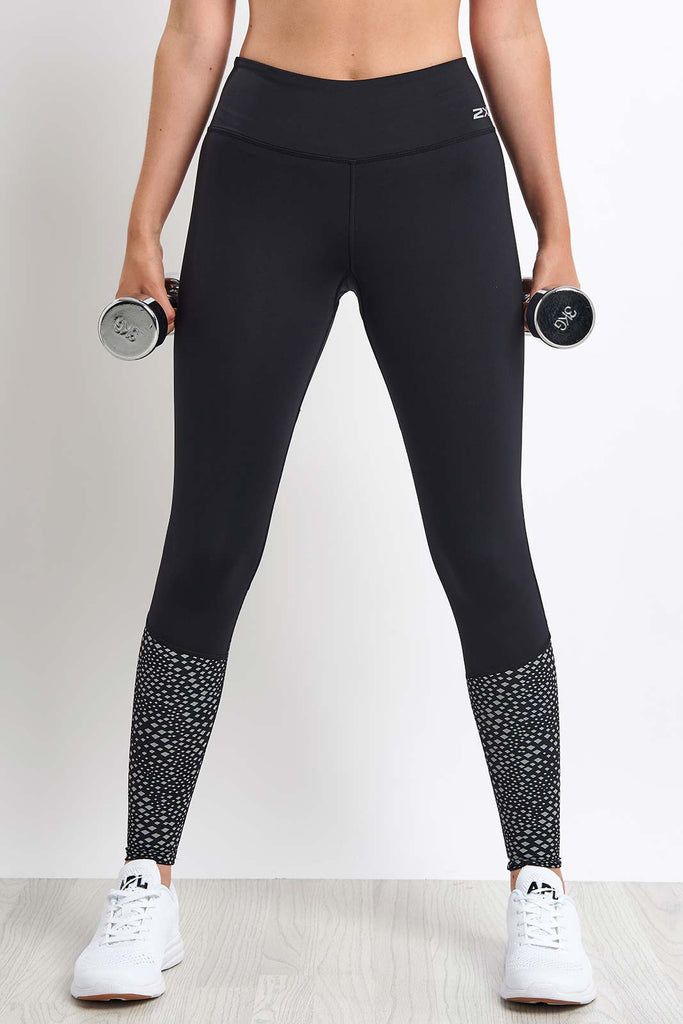 3bcbe0a77d1878 2XU Reflect Run Mid-Rise Compression Tight - Black/Silver image 1 - The