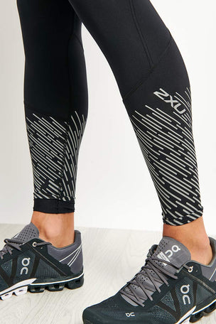 2XU Reflect Run Tights - Black/Silver Reflective image 4 - The Sports Edit