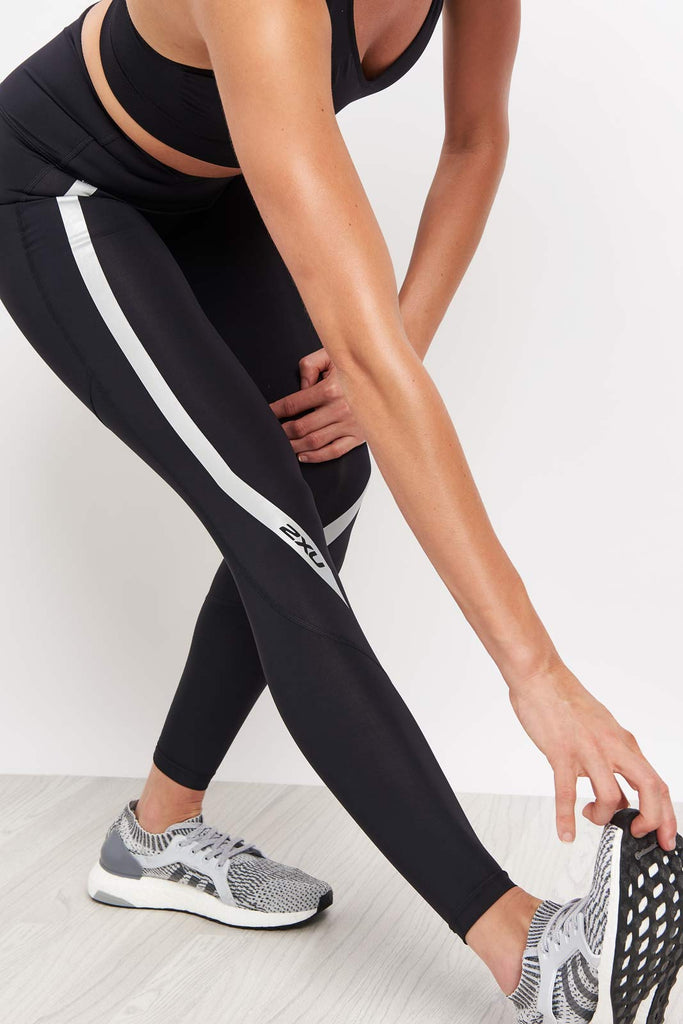 New 2XU Women Hi-Rise Compression Tights Higher Waistband Workout Gym Sports