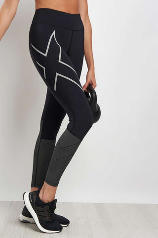 2XU Mid Rise Reflective Compression Tights image 1 - The Sports Edit