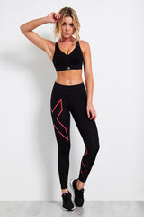 2XU Mid-Rise Compression Tight Black/Coral image 4 - The Sports Edit
