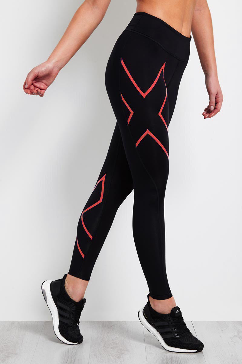 2XU Mid-Rise Compression Tight Black/Coral image 1 - The Sports Edit