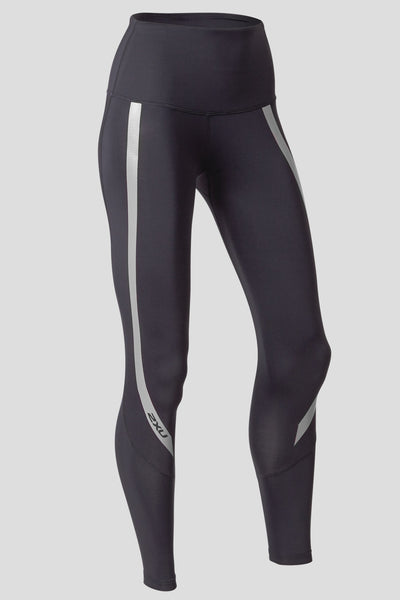 43af9407 2XU High Rise Compression Tights - Black/Silver | The Sports Edit