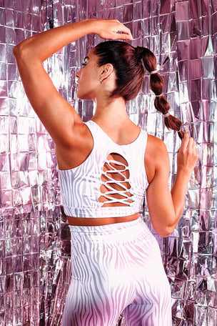 Year of Ours Tiger Foil Paula Bra - White/Silver image 7 - The Sports Edit