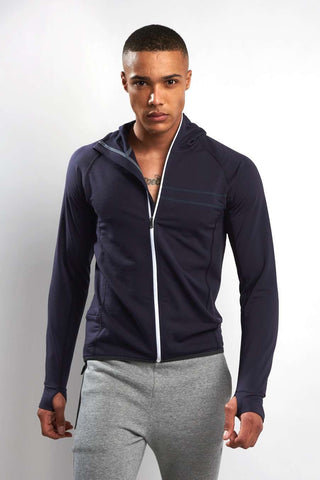 Ashmei Run Hooded Sweatshirt - Navy image 1 - The Sports Edit