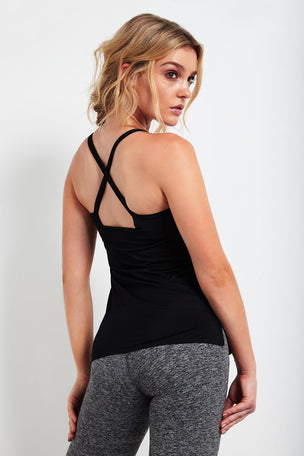 Lucas Hugh Cross Back Tank - Black image 2 - The Sports Edit