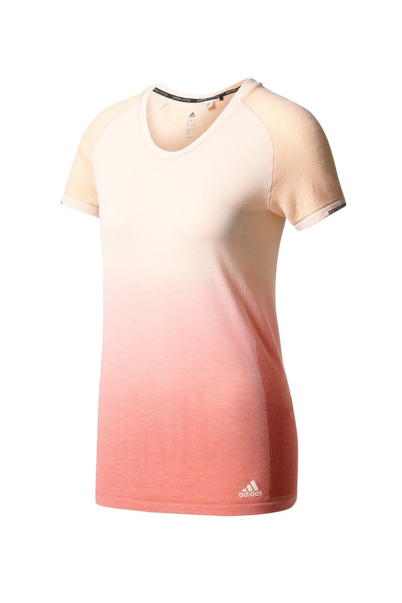 ADIDAS Primeknit T-Shirt Dip Dye - Coral image 5 - The Sports Edit