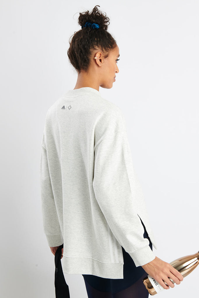 c65547a76db5b ADIDAS Wanderlust Second Layer Sweatshirt - White Melange image 3 - The  Sports Edit