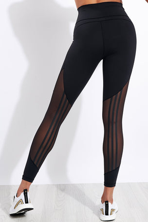 Adidas Believe This 2.0 3-Stripes Mesh Long Leggings - Black image 1 - The Sports Edit