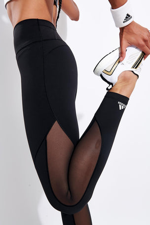 Adidas Believe This 2.0 3-Stripes Mesh Long Leggings - Black image 4 - The Sports Edit