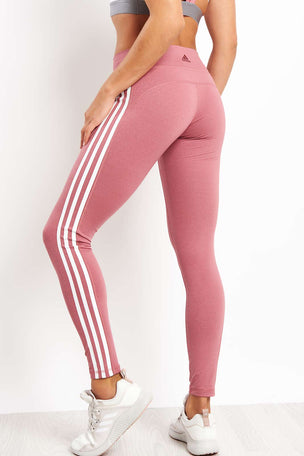 ADIDAS Believe This 3-stripes Tights - Noble Maroon image 2 - The Sports Edit